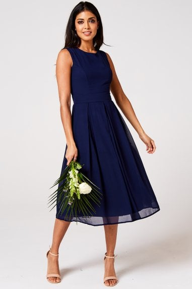 Isla Navy Midi Skater Dress