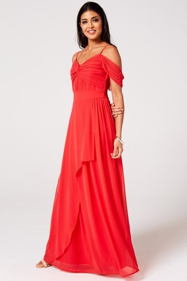 Cameo Fiery Coral Draped Maxi Dress