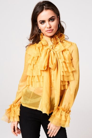 Lesa Yellow Frill And Pussybow Blouse