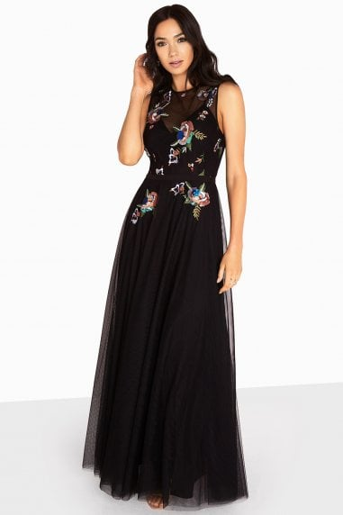 Hallie Sequin Embroidery Mesh Maxi Dress