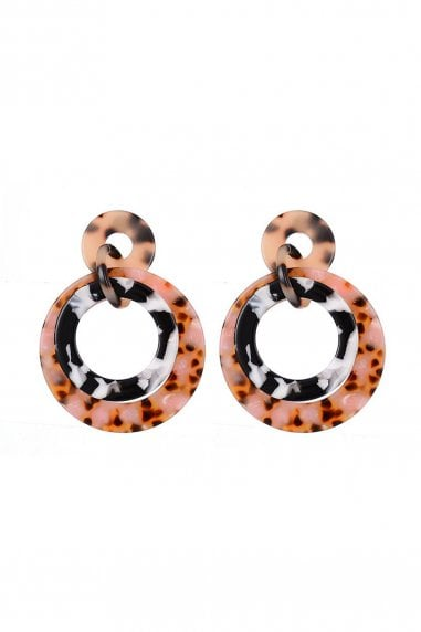Tortoiseshell Drop Hoop Earrings