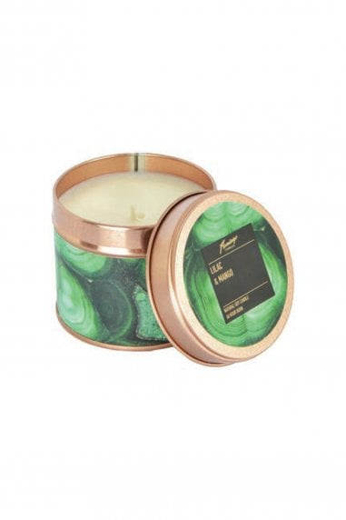 Lilac And Mango Malachite Rose Gold Tin Candle
