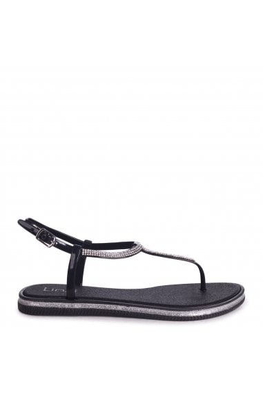 Storm Black Glitter Jelly Sandals With Diamante Toe Post