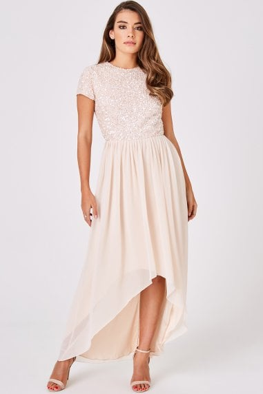 Luxury Elise Nude Hand Embellished Sequin Prom Dress