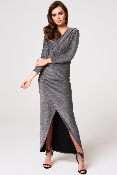 Brooklyn Black Lurex Plunge Maxi Dress