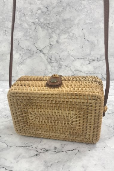 Tan Rattan Rectangle Cross Body Bag