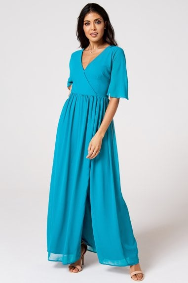 Iris Blue Jewel Mock Wrap Maxi Dress