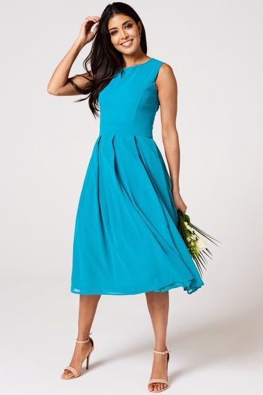 Isla Blue Jewel Midi Skater Dress