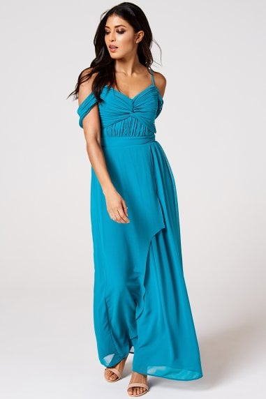 Cameo Blue Jewel Draped Maxi Dress