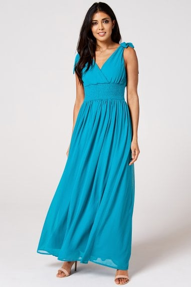 Aries Blue Jewel Plunge Maxi Dress