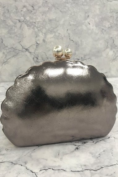 Pewter Scallop and Pearl Clasp Clutch Bag