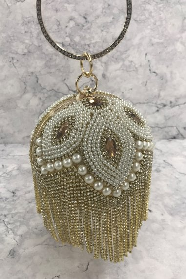 Gold Diamanté and Pearl Fringe Sphere Clutch Bag