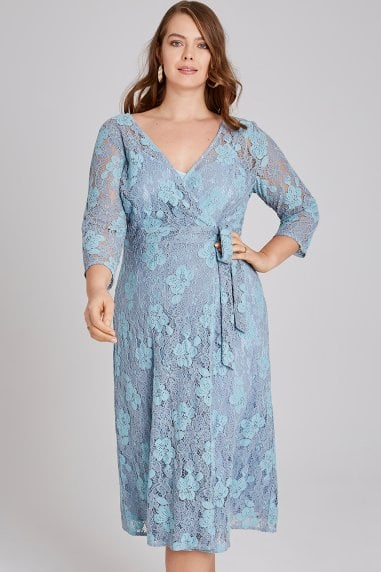 Alexina Two Tone Lace Wrap Midi Dress