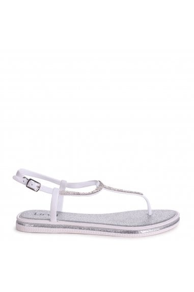 Storm Silver Glitter Jelly Sandals With Diamante Toe Post
