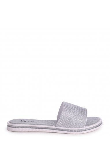 ARIANA - Silver All Over Glitter Slip On Slider