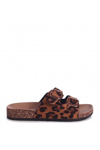 DENISE - Leopard Suede Slip On Slider With Double Buckle Front Strap