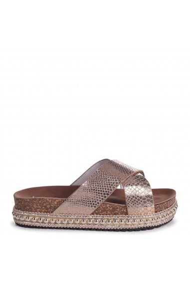 OASIS - Gold Snake Studded Platform Slider With Crossover Front Strap