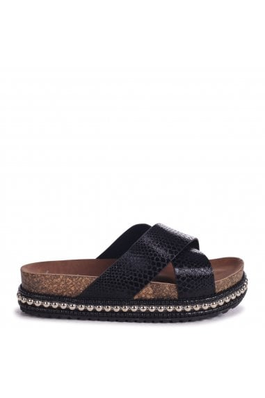 OASIS - Black Snake Studded Platform Slider With Crossover Front Strap