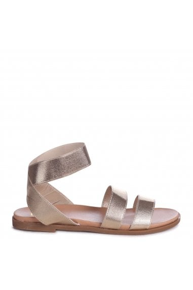RAFAELLA - Gold Elasticated Flat Sandal With Double Front Strap