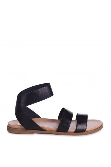 RAFAELLA - Black Elasticated Flat Sandal With Double Front Strap