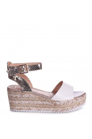 MOJITO - Gold & White Espadrille Flatform With Glitter Insock
