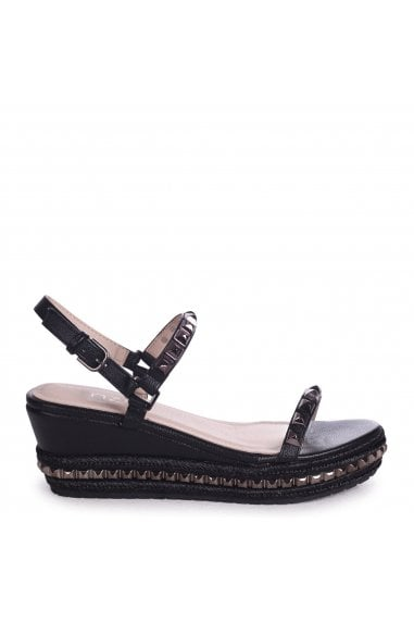 DREAM - Black Studded Flatform With Rope Trim