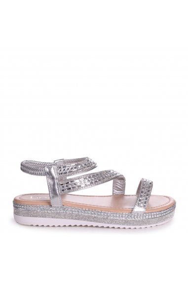 FIJI - Silver Full Diamante Flatform Sandal With Plaited Detail