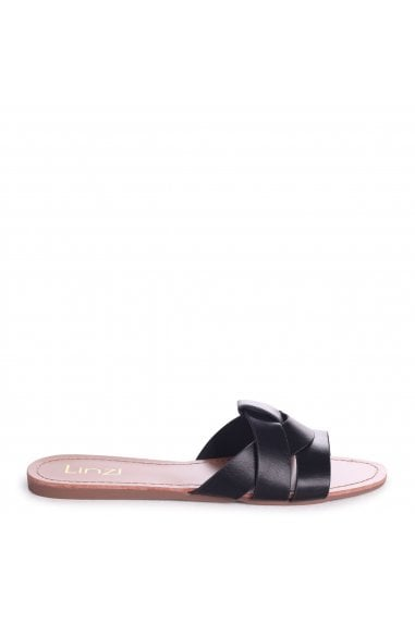 REGINA - Black Nappa Slip On Slider With Woven Front Strap