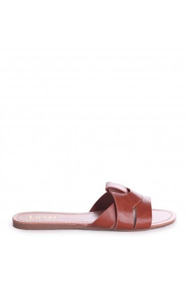 REGINA - Tan Nappa Slip On Slider With Woven Front Strap