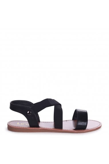 HAWAII - Black Sandal With Elastic Crossover Strap And Front Lizard Detail