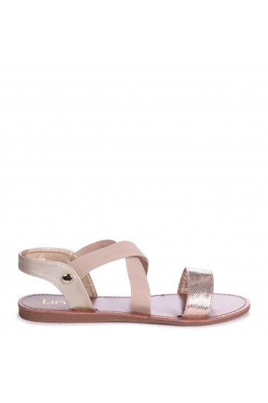 HAWAII - Beige Sandal With Elastic Crossover Strap And Front Lizard Detail
