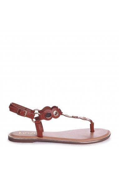 ATLANTA - Tan Nappa Toe Post Sandal With Gold Disc And Studded Detail