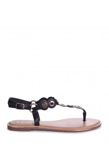 ATLANTA - Black Nappa Toe Post Sandal With Gold Disc And Studded Detail