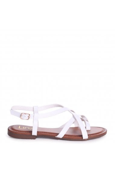 CAMILLO - White Nappa Strappy Gladiator Style Sandal With Toe Post