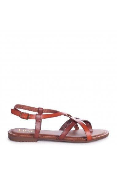 CAMILLO - Tan Nappa Strappy Gladiator Style Sandal With Toe Post