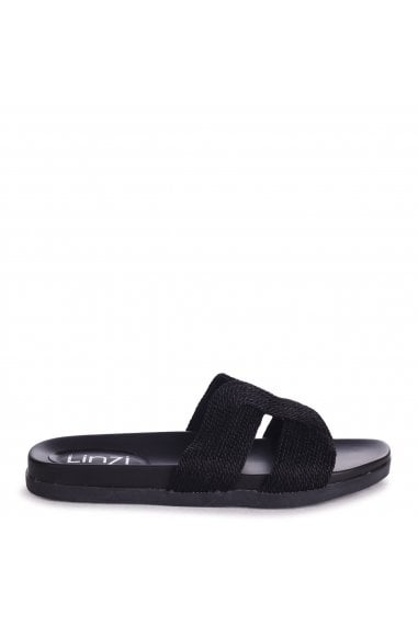 JENNY - Black Plaited Detail Slip On Slider With Link Shaped Front Strap