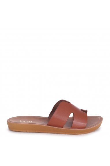GREECE - Tan Nappa Slip On Slider With Link Shaped Front Strap