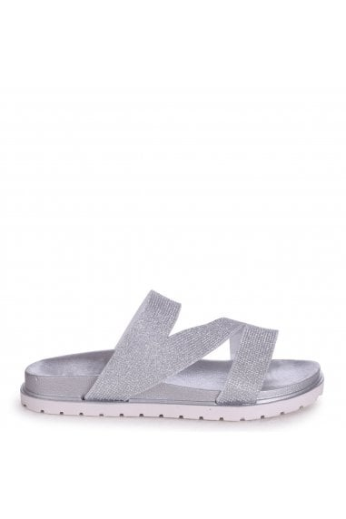 ZIGGY - Silver Slip On Slider With Glitter ZigZag Front Strap