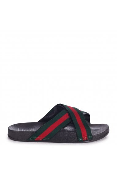 JERSEY - Black Slip On Slider With Green & Red Stripe Crossover Front Strap