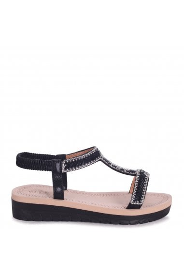 OLYMPIA - Black T-Bar Diamante Embellished Sandal With Memory Foam Inner