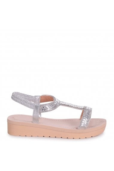 OLYMPIA - Silver T-Bar Diamante Embellished Sandal With Memory Foam Inner