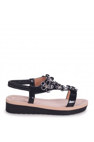 ALBANY - Black Floral Embellished Sandal With Memory Foam Inner
