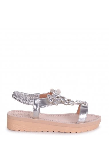 ALBANY - Silver Floral Embellished Sandal With Memory Foam Inner