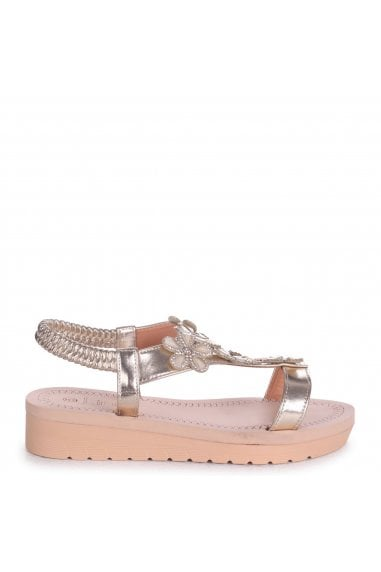 ALBANY - Gold Floral Embellished Sandal With Memory Foam Inner