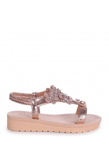 ALBANY - Rose Gold Floral Embellished Sandal With Memory Foam Inner