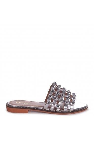 COOKIE - Silver Slip On Slider With Studded Front Strap