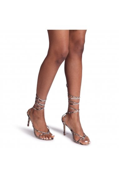 MIRACLE - Natural Snake Strappy Toe Post Lace Up Heel