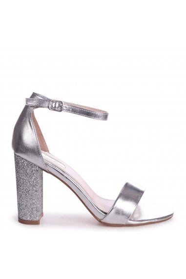 KORI - Silver Barely There With Glitter Block Heel