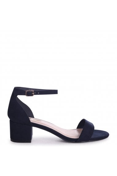 HOLLIE - Navy Suede Barely There Block Heeled Sandal With Closed Back