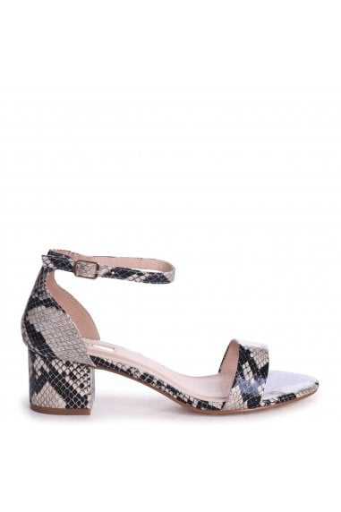 HOLLIE - Natural Snake Barely There Block Heeled Sandal With Closed Back